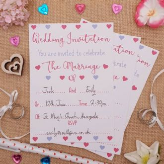 Wedding Invitations & Envelopes - 1 Pack Of 8 - Romantic Hearts